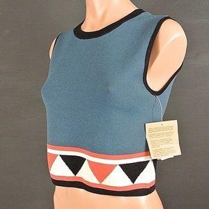 Rachel Roy Tops - Rachel Roy Top Mini Crop Blue Knit Casual NWT